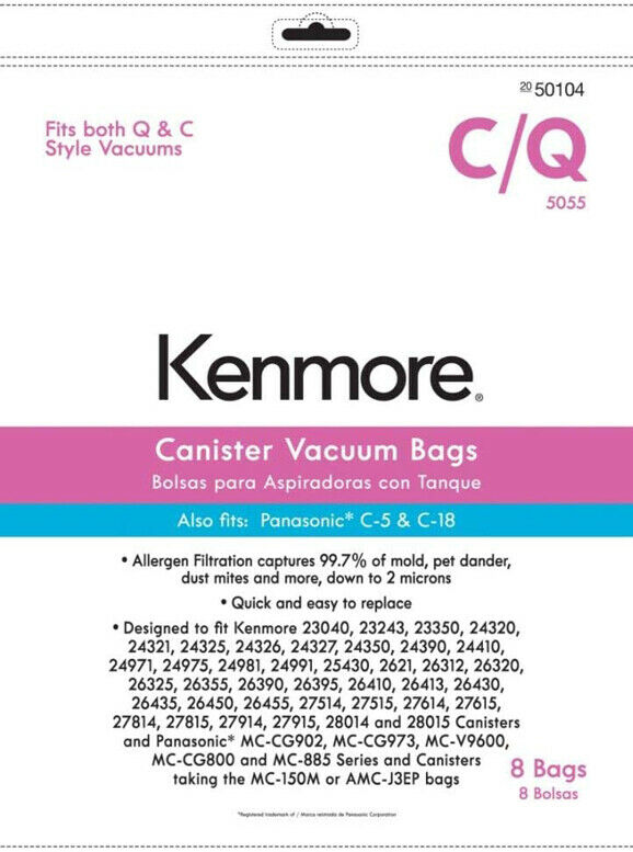 Kenmore 50104 8-Pack Style C/Q Canister Vacuum Bags KM48751-12 PANASONIC C-18
