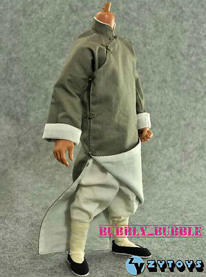 1/6 Bruce Lee Gray Color Chinese Style Kung Fu Robe Costume Set SHIP FROM USA - Bruce Lee Kids Costume