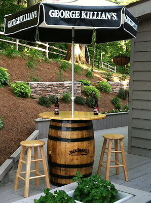 old whiskey barrel pub table patio table bistro table jack daniels jim beam authentic jim beam whiskey barrel table