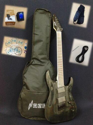 Haze-6FF TBK Flame Trans Black,Fanned-Fret,6-String Electric Guitar+Free Gig Bag