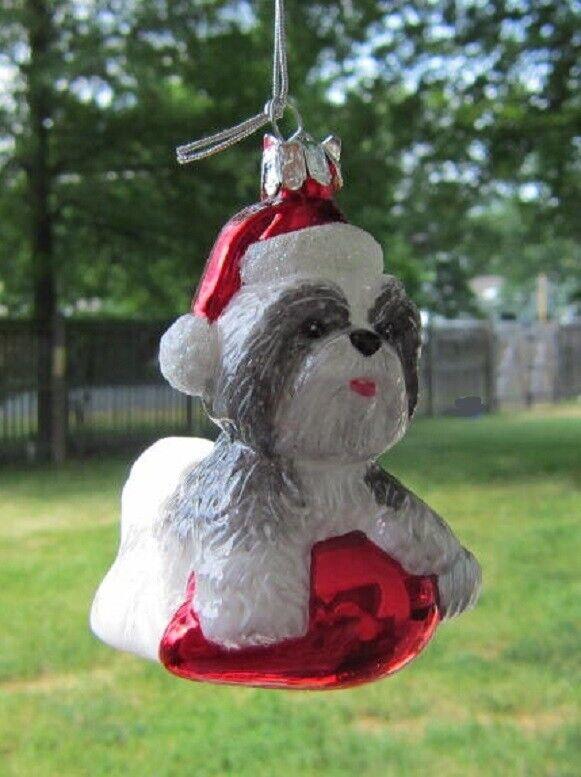 Glass Ornament SHIH TZU GRAY w/Holiday Bulb Dog Christmas Ornament Retired