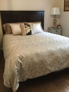 King Size Cream Damask Duvet Cover
