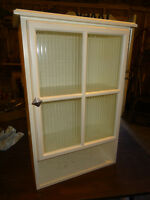 White Bathroom Cabinet With Washboard Glass