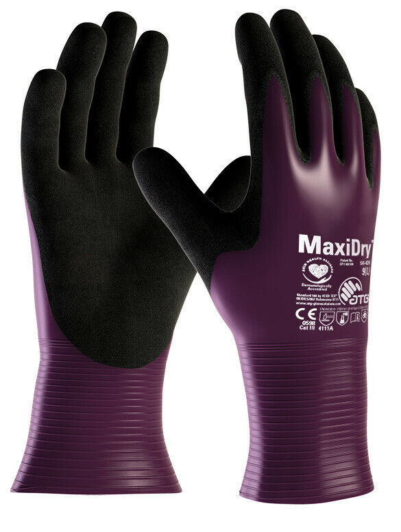 MaxiDry Palm Coated 56-426 Nitrile Foam Palm Open Cuff Water