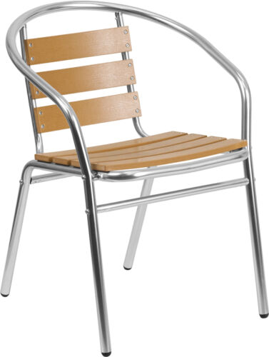 LOT OF 10 RESTAURANT STACK CHAIR WITH TRIPLE SLAT FAUX TEAK BACK