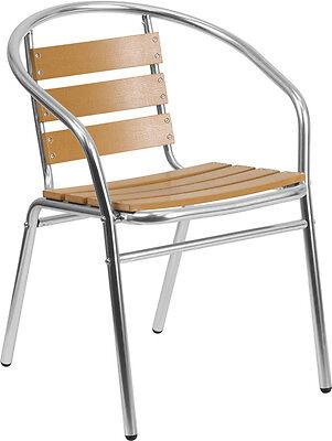 Aluminum Restaurant Stack Chair With Triple Slat Faux Teak Back