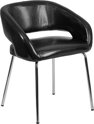 Black Leather Stylish Guest Reception Area Side Chair
