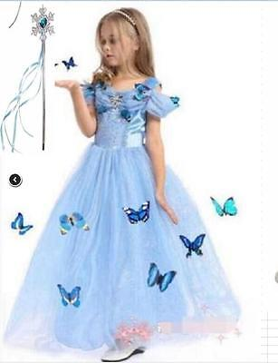 Mädchen Cinderella Aschenputtel Prinzessin Cosplay Kostüm Partykleid - Cinderella Kleid Mädchen