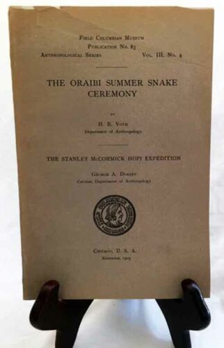 The Oraibi Summer Snake Ceremony by Voth—RARE 1903 Columbia Museum PB