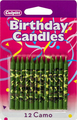 12 Green Camouflage Birthday cake Candle Cake Toppers Military Camo - Camo Birthday Cake