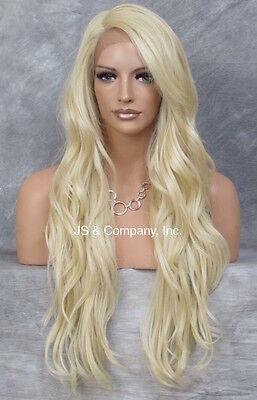 Heat OK Human Hair Blend Full Lace Front Wig Wavy Pale Blonde Mono Part AUR 613