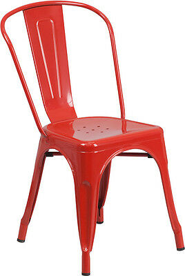 Red Metal Indoor-outdoor Stackable Chair Ch-31230-red-gg - Set Of 4