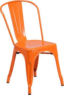 Orange Metal Indoor-outdoor Stackable Chair Ch-31230-or-gg - Set Of 4