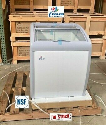 New 26 Ice Cream Gelato Chest Freezer Refrigerator Top Glass Mini Bunker Nsf