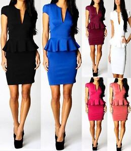 Womens-Peplum-Cutout-Frill-Bodycon-Sleeveless-Dress-Ladies-Party-Celebrity-9005