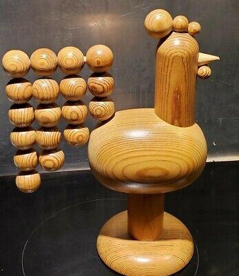 Vintage Aarikka Finland Rooster Wooden Sculpture Figurine