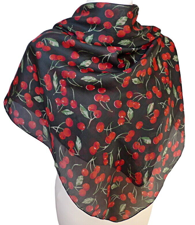 leichtes Kirschen Seidentuch rot schwarz grün 100% Seide Damen Tuch  368