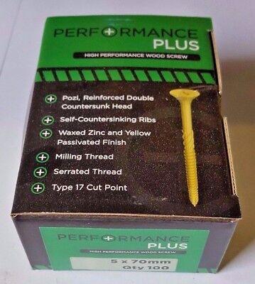 5 x 70mm PERFORMANCE PLUS WOODSCREWS (Box of 100)