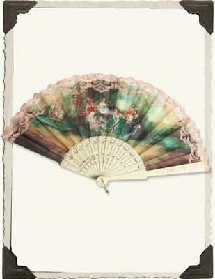 Victorian Trading Co Ivory Hand Fan The Language of Fans Floral New Free Ship](The Trading Company)