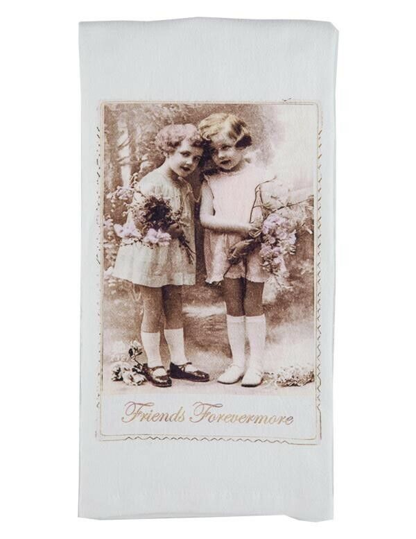 Victorian Trading Co Friends Forevermore Vintage Photo Tea Towel or Dish Towel