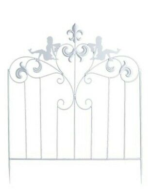 Victorian Trading Co Fairy Garden White Wrought Iron Rail Fence Cottage Chic Wrought Iron Garden Fencing