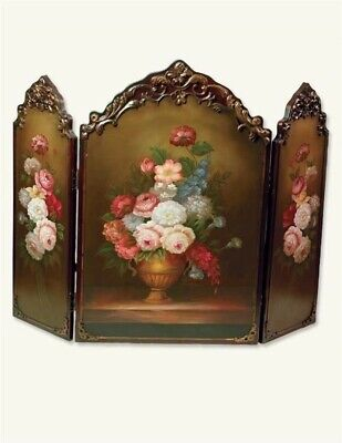 Victorian Trading Co Scarborough Hand Painted Floral Fireplace Screen