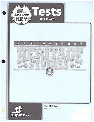 BJU Press - Heritage Studies 3 Tests Answer Key- 287326 Studies Tests Answer Key