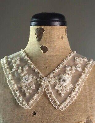 Victorian Trading Co Beaded Rhinestone Victoria Lace Collar Bib Necklace