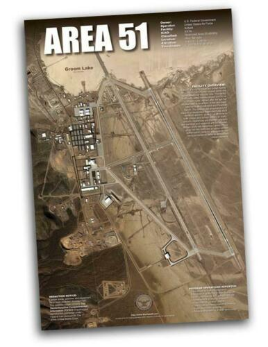 """Area 51 Classified Arial Satellite image UFO poster 24x36"""""""