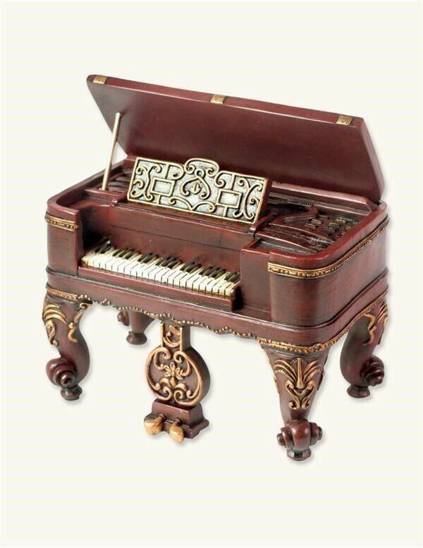 Victorian Trading Co NWOB Harpsichord Piano Wind Up Music Box Blue Danube 29D