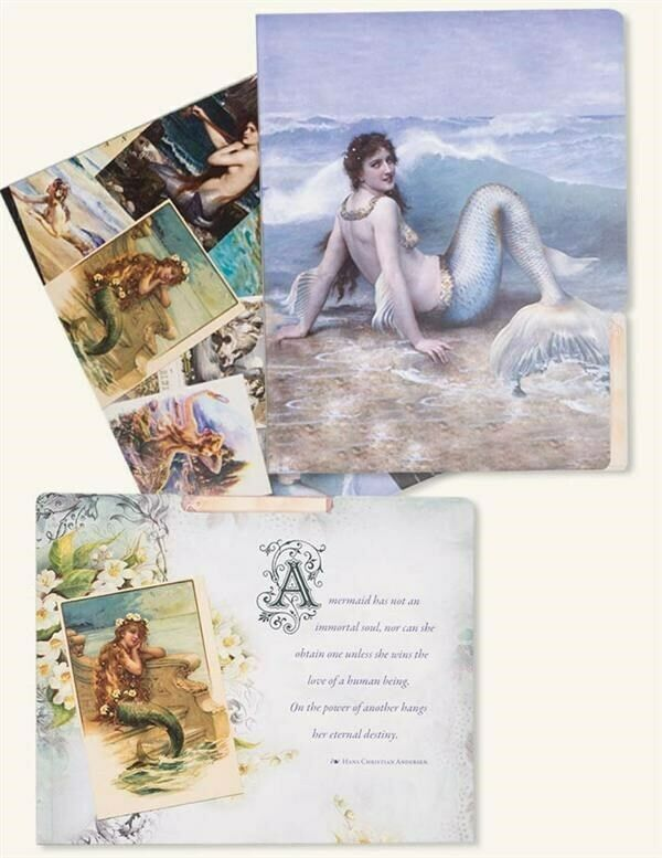 Victorian Trading Co 6 Vintage Mermaid Manila Art Folders