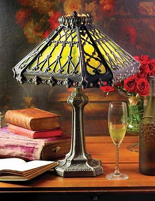 Viktorianisch Gothic Stil Smaragd Grün & Gold Haus Tischlampe, 18'' H. - Lampe Viktorianische Tisch Lampe