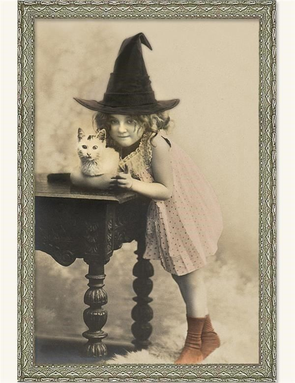 Victorian Trading Co Halloween Witch w/ Cat Unframed Print Free Ship NIB