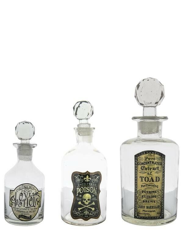 Victorian Trading Co Set of 3 Glass Antique Label Poison & Potion Spell Bottles