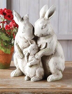 """Victorian Trading Co Bunny Rabbit Family Statue Figurine 12"""" New Free Shipping"""