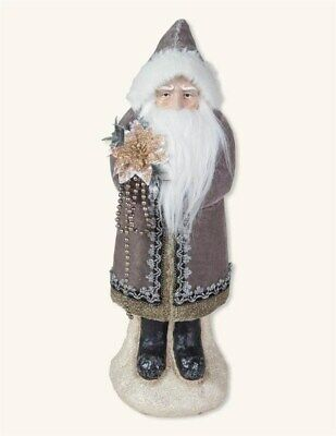 Victorian Trading Co Santa Claus in Gray Suit with Poinsettia Figure Paper Mache