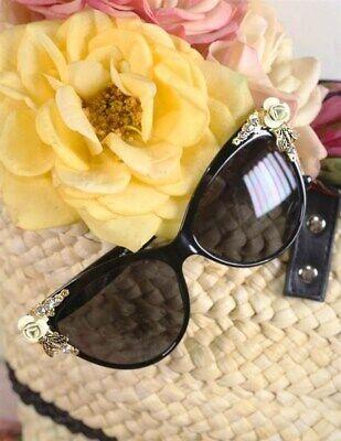 Victorian Trading Co Riviera Sunglasses Cat Eye Rhinestone Bee Black (Rhinestone Cat Eye Sunglasses)