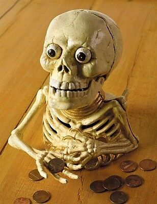 Victorian Trading Co Miser's Skeleton Cast Iron Trick Halloween Bank  NIB