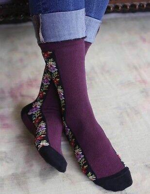 Victorian Trading Co Purple & Black Ribbon Floral Socks Free Ship NIB