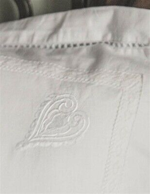 Victorian Trading Pair White Embroidered Wedding Heart Spencerian Pillowcases