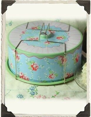 Vintage Floral Print Cake Carrier Nostalgic Tin Caddy Free Ship NIB