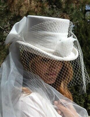 Victorian Trading Co Gothic Equestrienne Top Hat & Veil Wedding Riding White ()