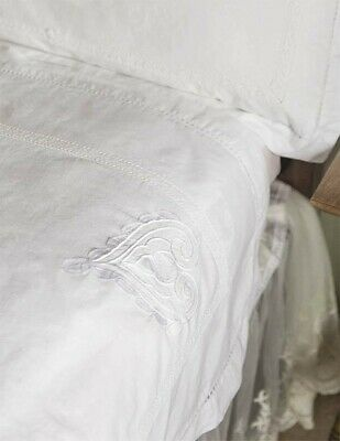 Victorian Trading White Embroidered Wedding Heart Spencerian Bed Sheets King