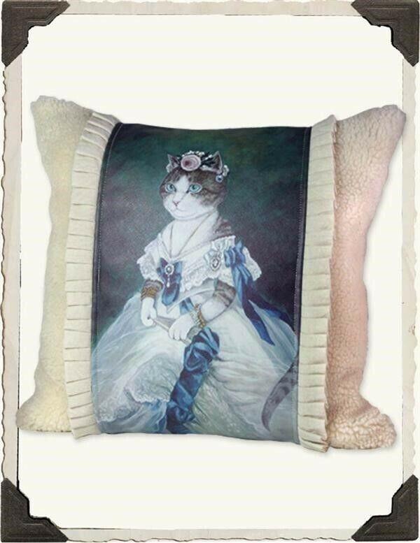 Victorian Trading Co HRH Princess Kitty Cat Queen Pillow Free Ship NIB
