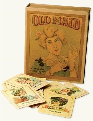 """Antique Replicated Old Maid Card Game Set 3 x 4"""" Cards Free Ship NIB"""