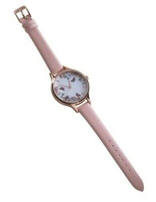 Victorian Trading Co Pink Glimpse Of Utopia Roses & Butterflies Watch