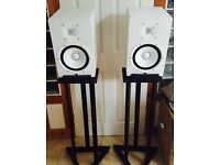 Yamaha HS8 Monitors Speakers White with two types of stands.