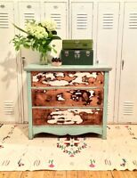 Commode shabby-chic rustique turquoise.