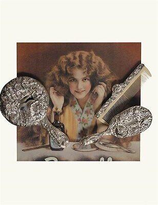 Antique Reproduction Brush, Comb & Mirror Silver Plated Vanity Set Free Ship NIB