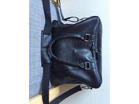 Mens Zara briefcase - black faux leather croc skin
